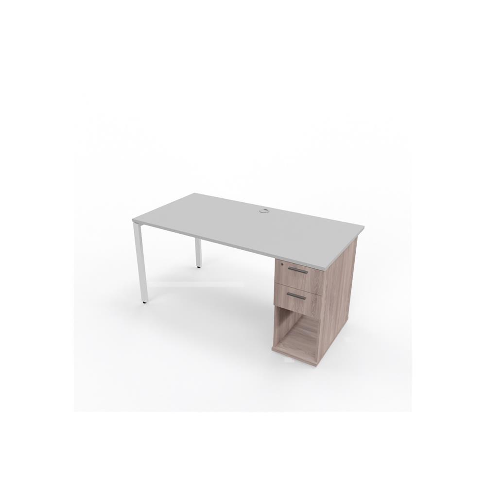 Align Studio Slim Line Desk and Storage- 2 Drawer Pedestal - Folkstone Grey - 1200x750x722 - Folkstone Grey - Folkstone Grey - Folkstone Grey - Exclude