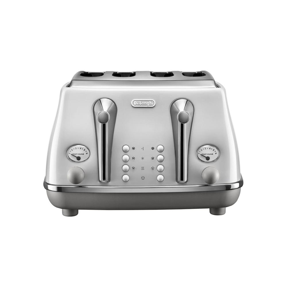Delonghi Icona Capitals 4 Slice Toaster - Sydney White