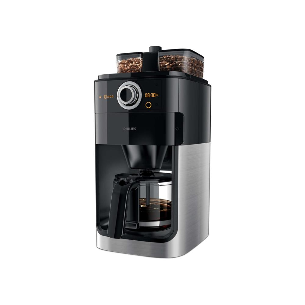 Philips 1.2L Grind & Brew Coffee Maker - Black/Silver