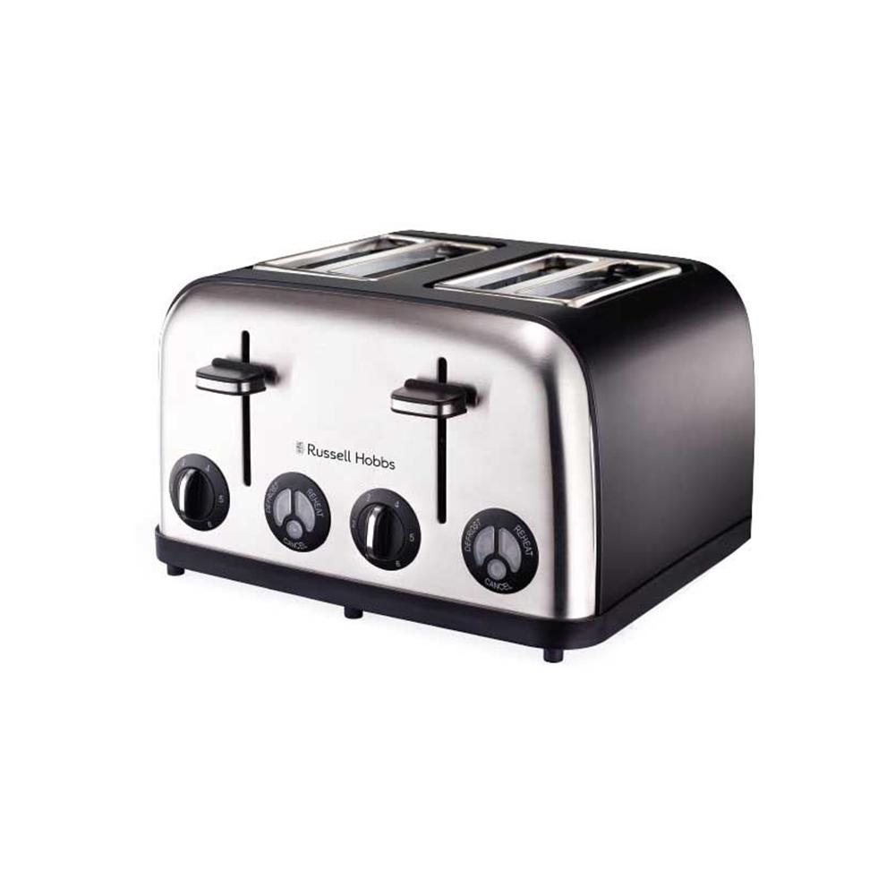 Russell Hobbs Matte Black Stainless Steel 4 Slice Toaster
